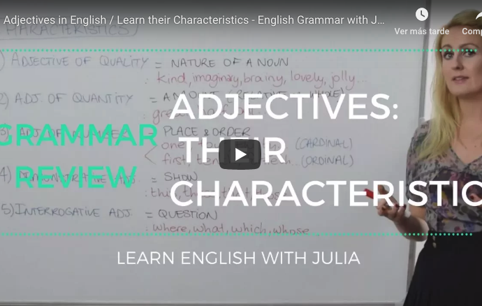 Adjectives and their characteristics Learn English with Julia