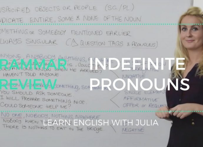 Indefinite Pronouns, something, anything.. Learn English with Julia