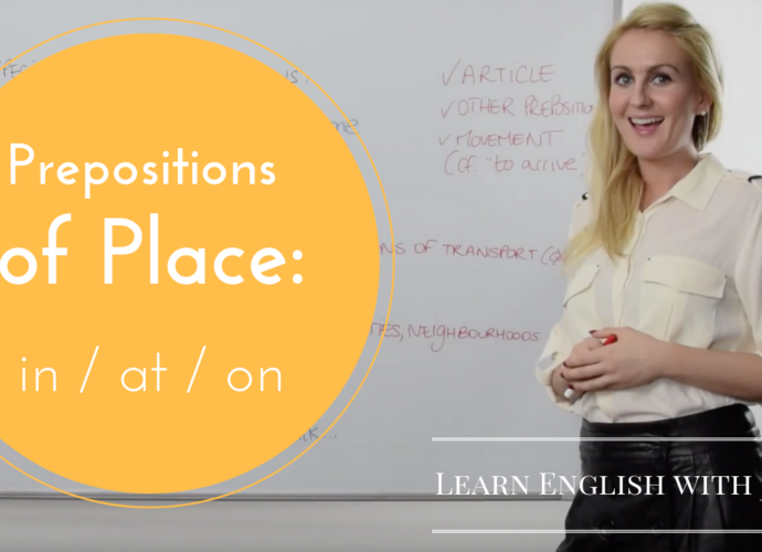 grammar prepositions of place in at on Learn English with JUlia
