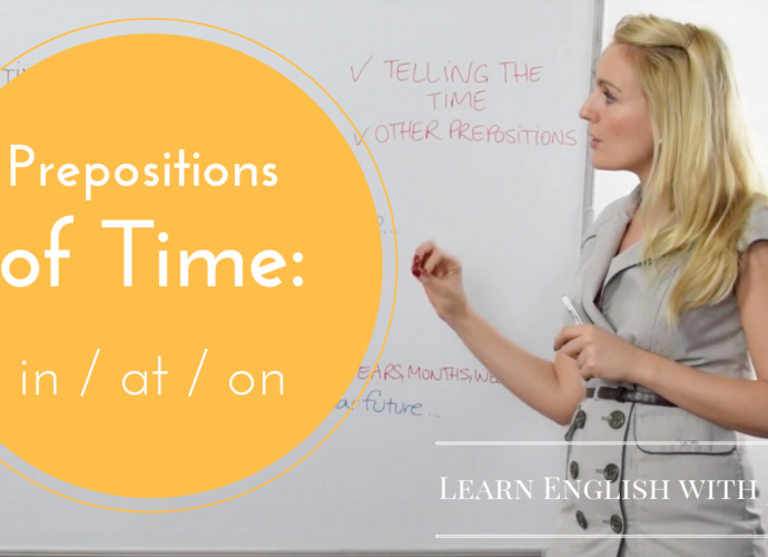 grammar prepositions of time in at on Learn English with JUlia